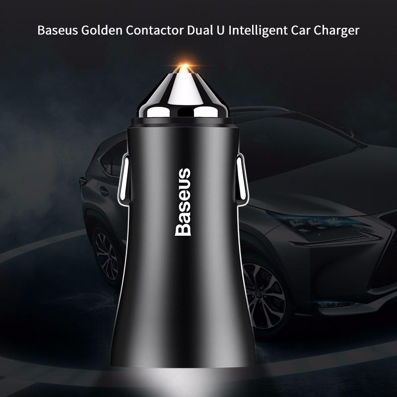 BASEUS Golden Contactor Dual U Intelligent Car Charger - Black