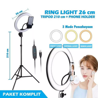 Tripod 2 Meter + Ring Light 26cm + Holder HP - Tripod 2M - Tripod Kamera - Tripod HP